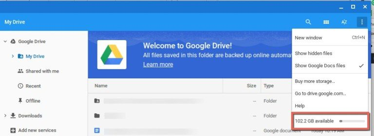 Make area offered on Google Drive
