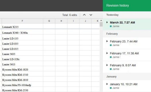 Exactly how to go back to previous variations of a spread sheet in Google Pages