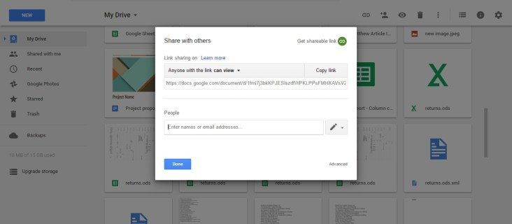 Share documents on Google Drive