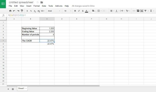 Exactly how to include a CAGR formula to Google Sheets